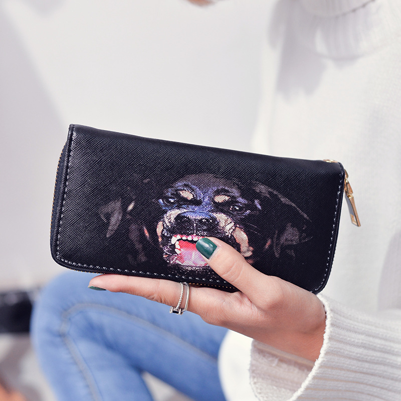 2017 New Fashion 3D Dog Head Printing Long  Purse Female Wallet Zipper Wallet Women 2pcs lot new fashion animal 3d cat dog printing coin purse 100% polyester zipper wallet brand women bag monederos wallet