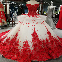 LSS037 red 3D flowers high quality dresses quick shipping from china off shoulder v neck lace up back ball gown evening dress