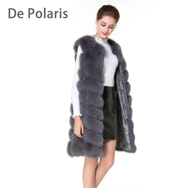Real de piel de chaleco y abrigos de piel de zorro abrigos de las mujeres naturales de piel de zorro chaleco 90 cm mujer Real de piel de zorro abrigo largo enviar por DHL 5 días