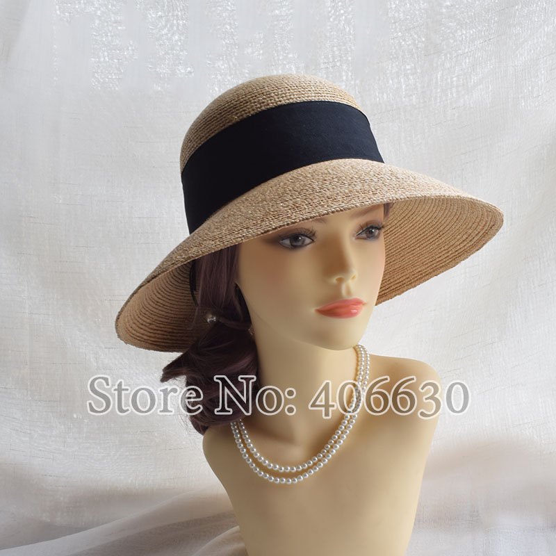 Summer 10cm Wide Brim Women Raffia Straw Sun Hat Female Beach Caps Free Shipping SWDS041 in Women 39 s Sun Hats from Apparel Accessories