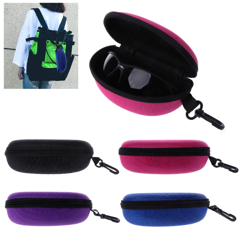 Hawaiian Beach With Two Lounge Chairs Glasses Case Portable Soft Sunglasses Pen Bag Protective Purse