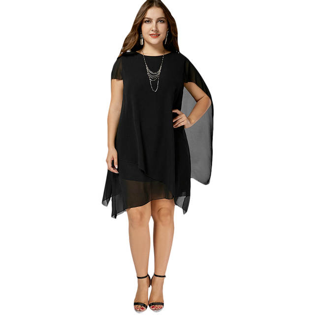 23a3b82e92 Gamiss Chiffon Asymmetric Plus Size Cape Women Dress Summer Short Sleeves  Knee Length Dresses Big Size Party Dress Vestidos