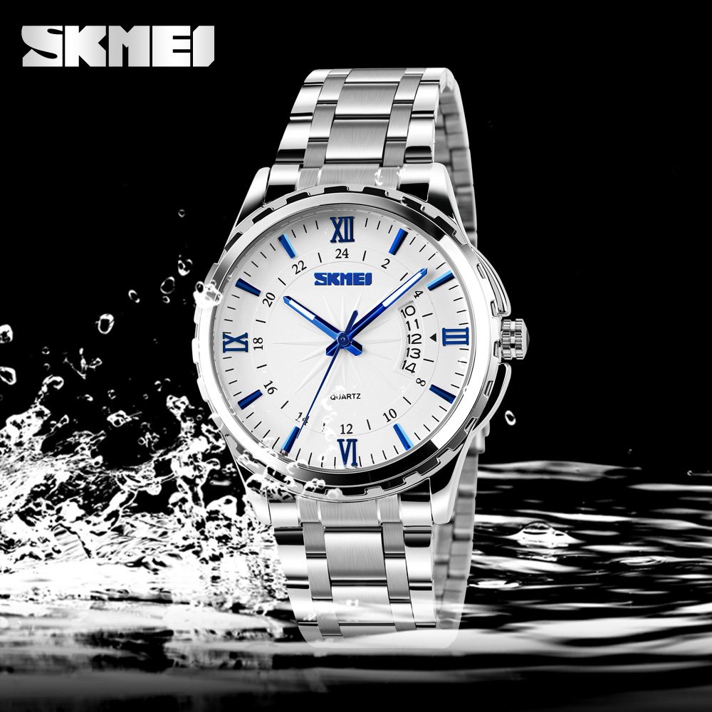 SKMEI New Fashion Casual Watch Men Full Steel Auto Date Water Resistant Calendar Quartz Wristwatches Relogio Masculino