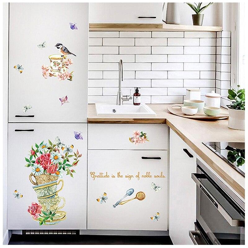 Ingemaakte bloemen vogel muurstickers home decor woonkamer diy art ...