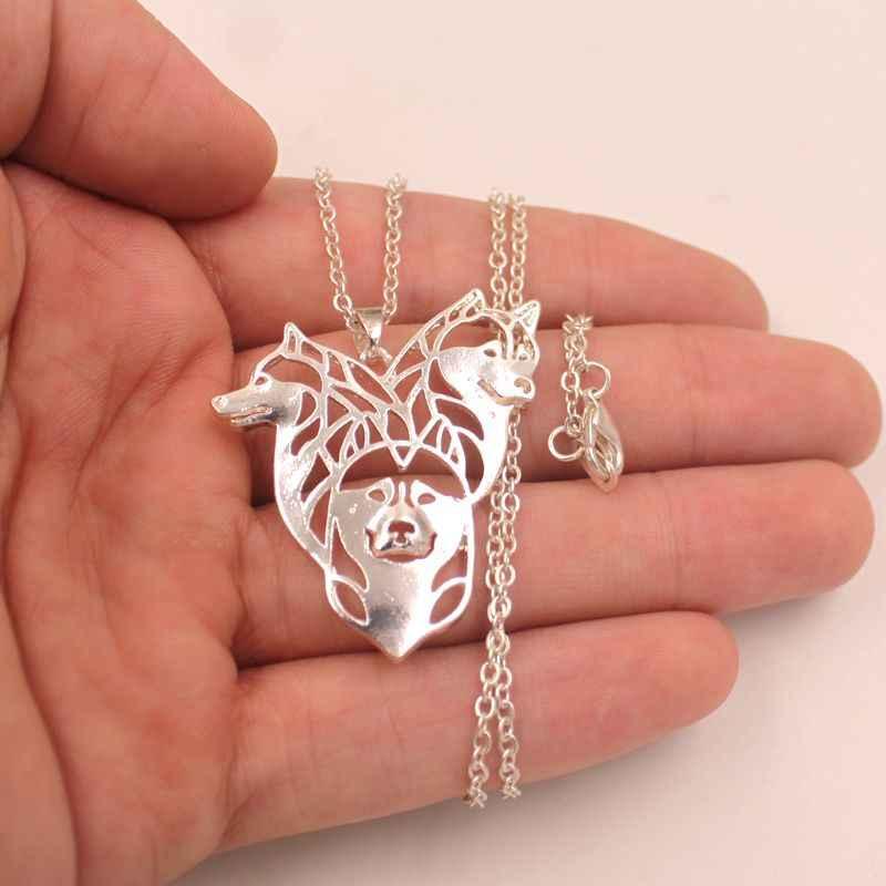 2019 Husky naszyjnik pies zwierząt wisiorek złoty posrebrzane biżuteria dla kobiet mężczyzna kobiet dziewczyny panie dzieci chłopcy przyjaźń N001