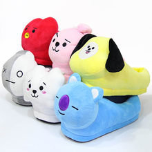 BTS BT21 ARMY VAN MANG CHIMMY TATA COOKY RJ KOYA SHOOKY Plush Stuffed Slippers Household Slippers Cotton Shoes Costume Kpop Gift
