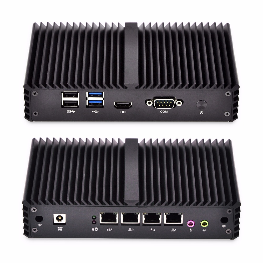 Fanless Mini PC 4 Gigabit Lan Ethernet NIC Core I3 Security AES-NI Qotom Router Pfsense Firewall