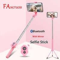 FANGTUOSI inalámbrico Bluetooth Selfie Stick de mano extensible Monopod con espejo obturador remoto Mini trípode para iPhone
