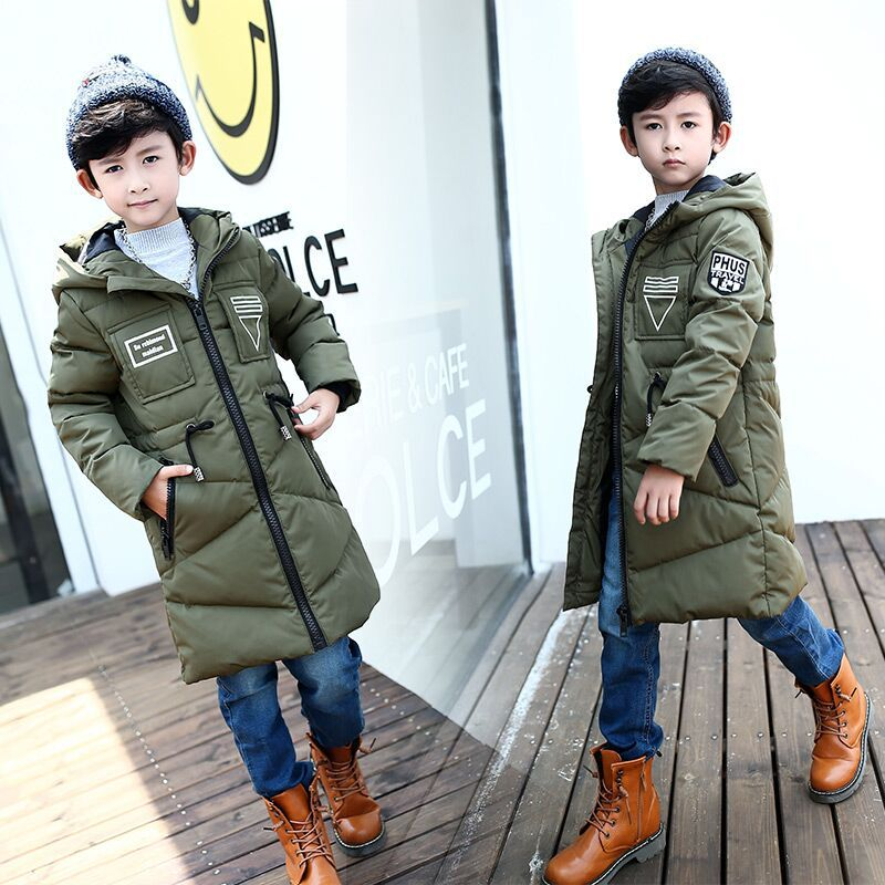 Brand Quality Fashion Teenagers Thick Winter Long Jackets Hooded Coats White Duck Jacket For Big Boy Children's Down & Parkas 2017 new winter fashion women down jacket hooded thick super warm medium long female coat long sleeve slim big yards parkas nz18