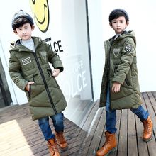 Brand Quality Teenagers Thick Winter Long Jackets And Coats Korean Style White Duck Jacket For Big Boy Children's Down & Parkas boys jacket winter 2018 new brand baby boy winter feather parkas for teenagers girls warm down coats high quality 2 8 years