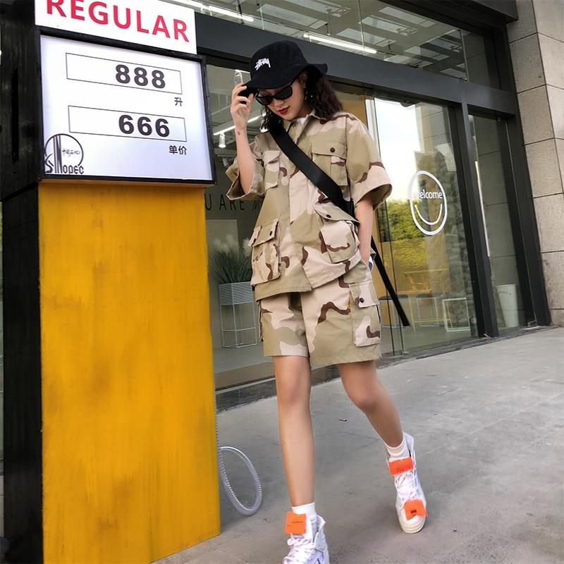 Coton Vêtements Veste Féminin Top Costume Européen Offre Denim 2018 Et Camouflage Spéciale camouflage camouflage Top Suit orange Shorts De Tendance Nouveau Bomber Américain Femmes Rue Orange wq7dC5