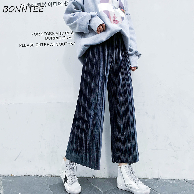 Pants   Women Winter 2019 All-match Trendy Elegant Elastic Waist Womens   Wide     Leg     Pant   Korean Style High Waist Ladies Trousers