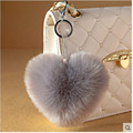 Love Heart Fur Keychain fur pom pom Keychain fluffy keychain rabbit fur ball keyring porte clef llaveros Key Chain For Bag Charm