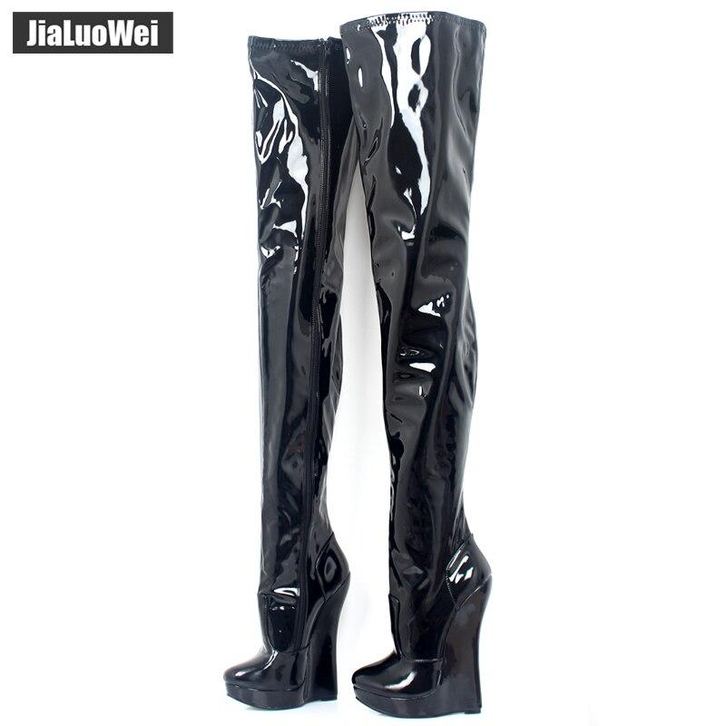 2016 New arrival impressionante magro coxa alta cunhas over the knee botas mulheres de salto alto botas de couro do inverno