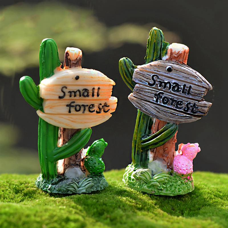 Kawaii Resin Craft Cactus Road Sign Small Forest Miniature Fairy Figurine Mini Garden Decoration Home Ornaments Accessories