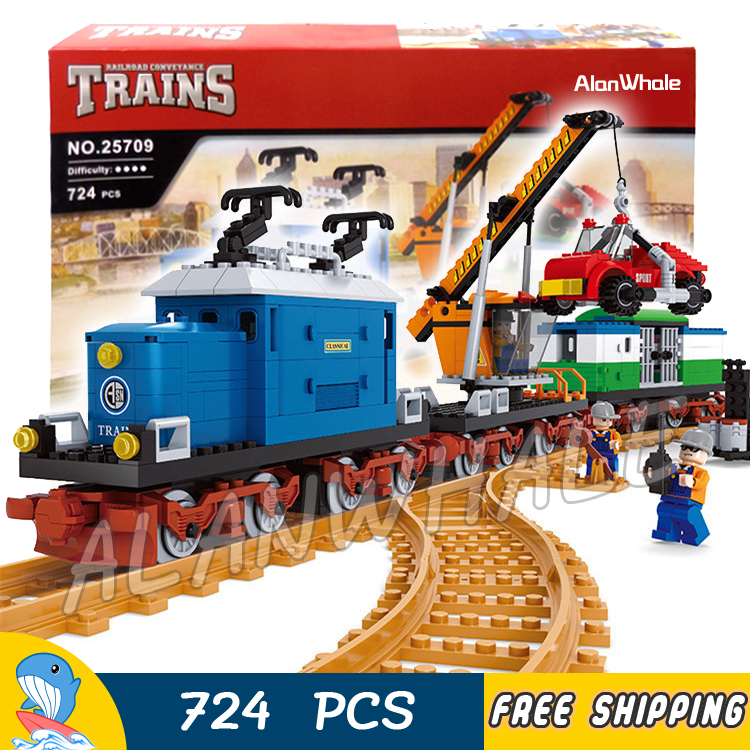 724pcs AlanWhale Vintage Pick-up Goods train locomotive Train Model Building Blocks Bricks Playset Railway Compatible With Lego