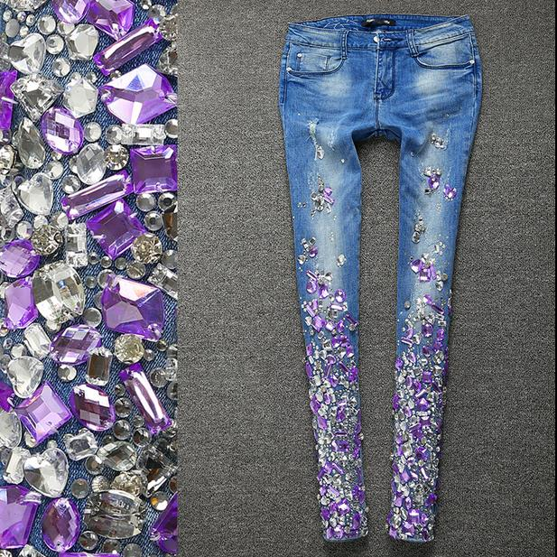 Women Silver   Jeans   with Rhinestones Sequins   Jeans   with Crystal Diamond Skinny Pencil   jeans   plus size