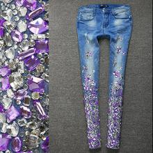 Women Silver Jeans with Rhinestones Sequins Jeans with Cryst