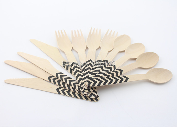 Promotional 1440pcs Printed Wooden Cutlery Set Wholesale Wedding