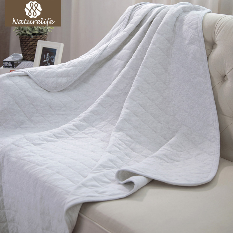 Naturelife Luxury Jersey Cotton Blanket Trow Stretchy Soft Breathable Comfortable Blanket Solid Heather Warm Blankets for bed