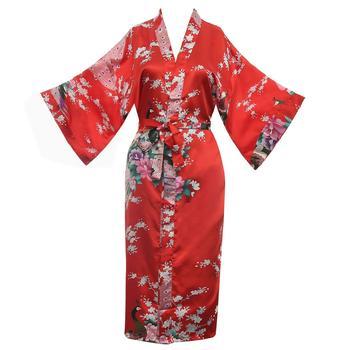 Chinese Women Wedding Print Peacock Robes Sexy Red Satin Knee-length Sleepwear Home Wear Female Nightgown Kimono Bath Dress Gown