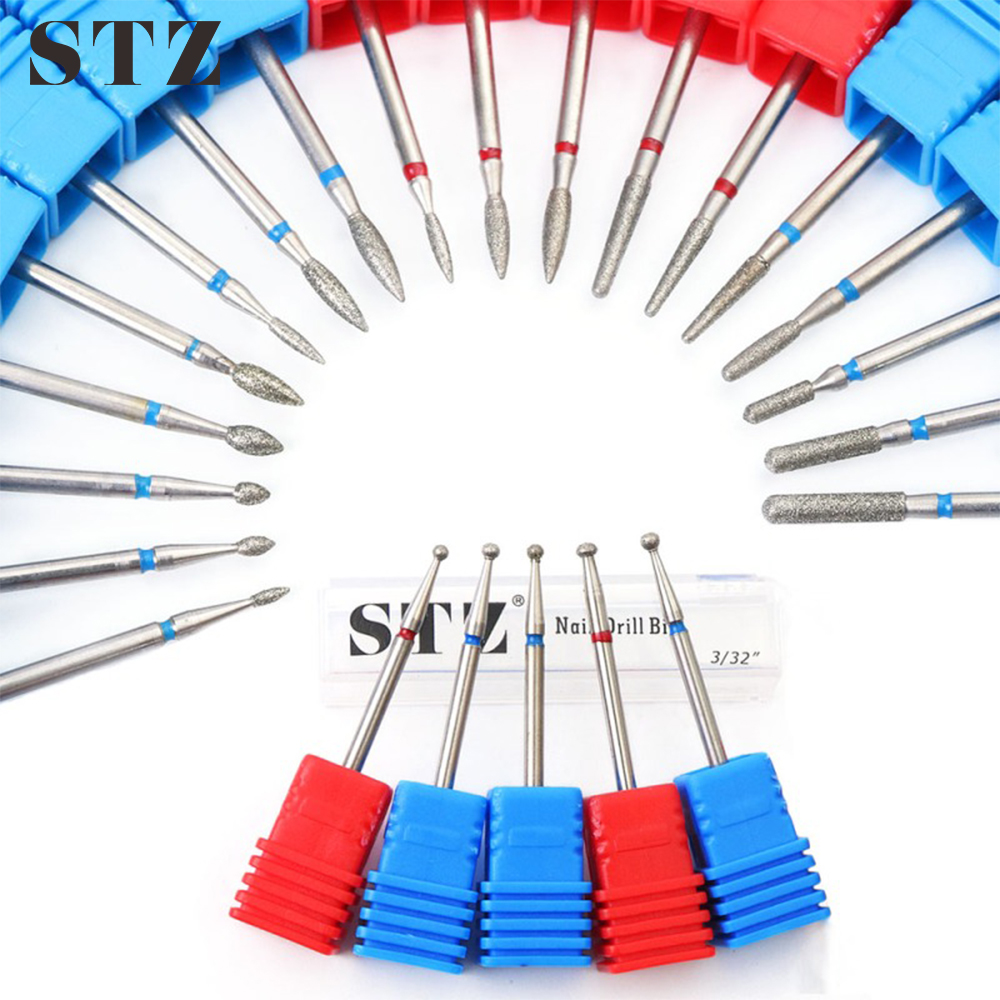 STZ 1pcs Diamond Cuticle Nail Drill Bits Electric Burr Milling Cutter Clean Remover Files Nail Art Drill Tools Manicure #01-29