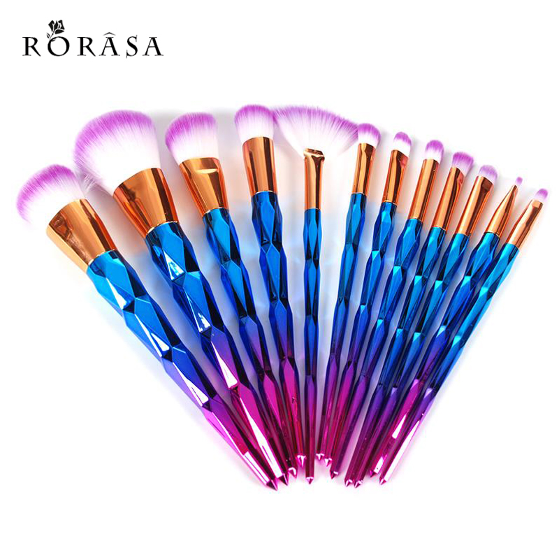 12Pcs Diamond Shape Makeup Brushes Set Beauty Cosmetic maquiagem Eyeshadow Lip Powder Face Pinceis Tool Kabuki Brush Kits Pincel кисти для макияжа kabuki brush 100% 27 pinceis maquiagem makeup brushes