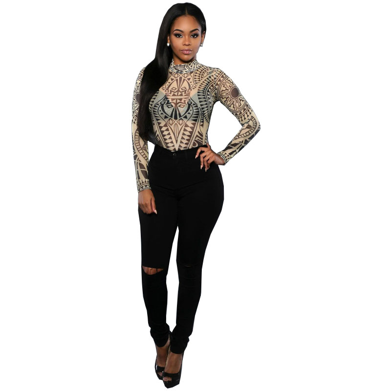 Sexy Tattoo Print Women Bodysuit Jumpsuits Casual Playsuit Leotard Jumpsuit Overalls Enteritos Mujer Club Wear Bodycon Rompers