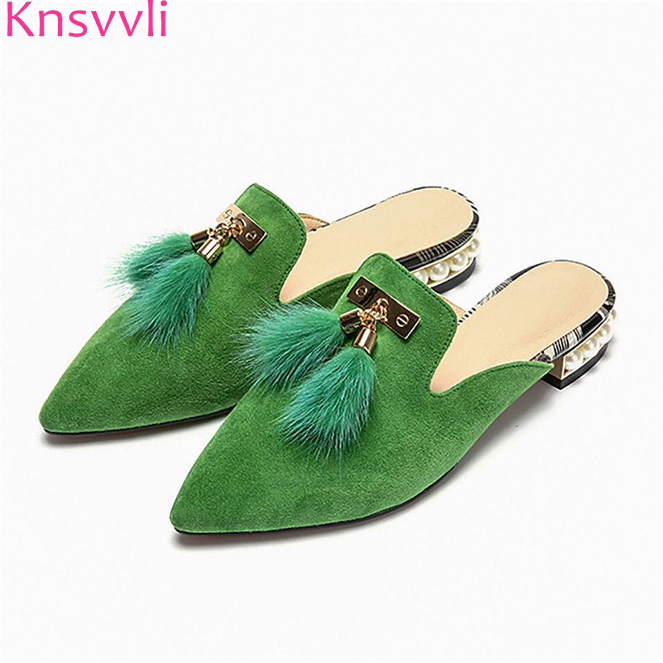 Knsvvli women flat mules shoes pointed toe slides sandals big size summer kid suede with fur pearls slip on shoes pointed toe flat mules