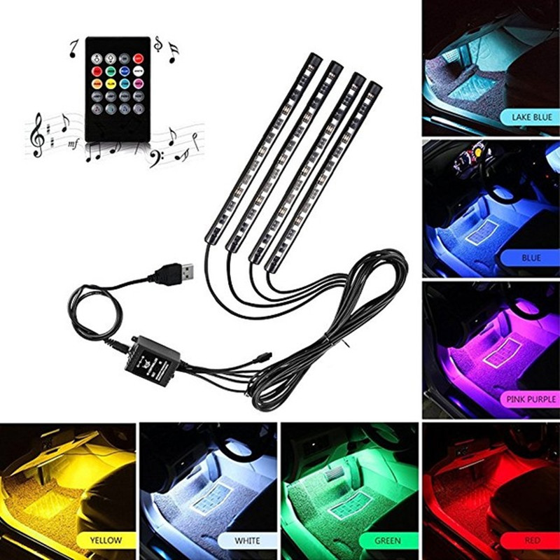 Car Interior Atmosphere Neon Light LED Multi Color RGB Voice Sensor Sound Music Control Decor Decorative Lamp Car Lighting 12v