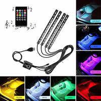 Car Interior Atmosphere Neon Light LED Multi Color RGB Voice Sensor Sound Music Control Decor Decorative Lamp Car Lighting 12v