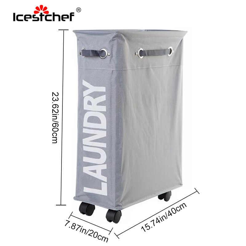 ICESTCHEF طوي سلة الغسيل مع عجلات الملابس القذرة سلة صندوق تخزين أكسفورد تخزين ملابس المنظم مع عجلة