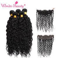 Wonder Beauty Water Wave Hair 3bundles With Frontal 100 Human Hair Extension Brazilian Hair Weave Bundles