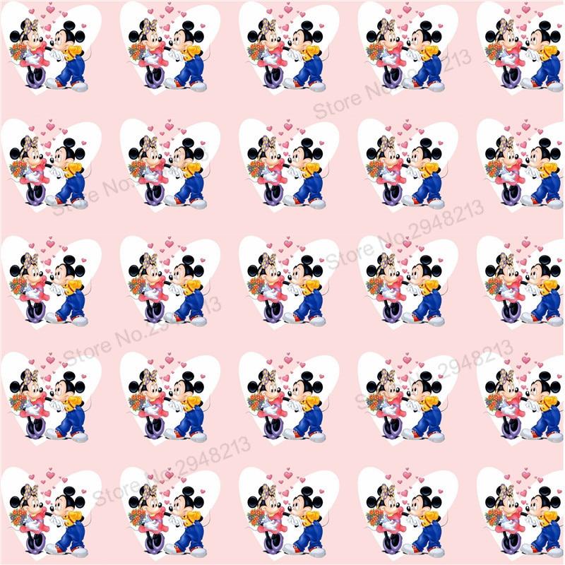 10 шт./лот печатных мышь любовь Синтетическая кожа ткань Vinly для День святого Валентина волос лук сумки 20 * см 34 см PPUL02