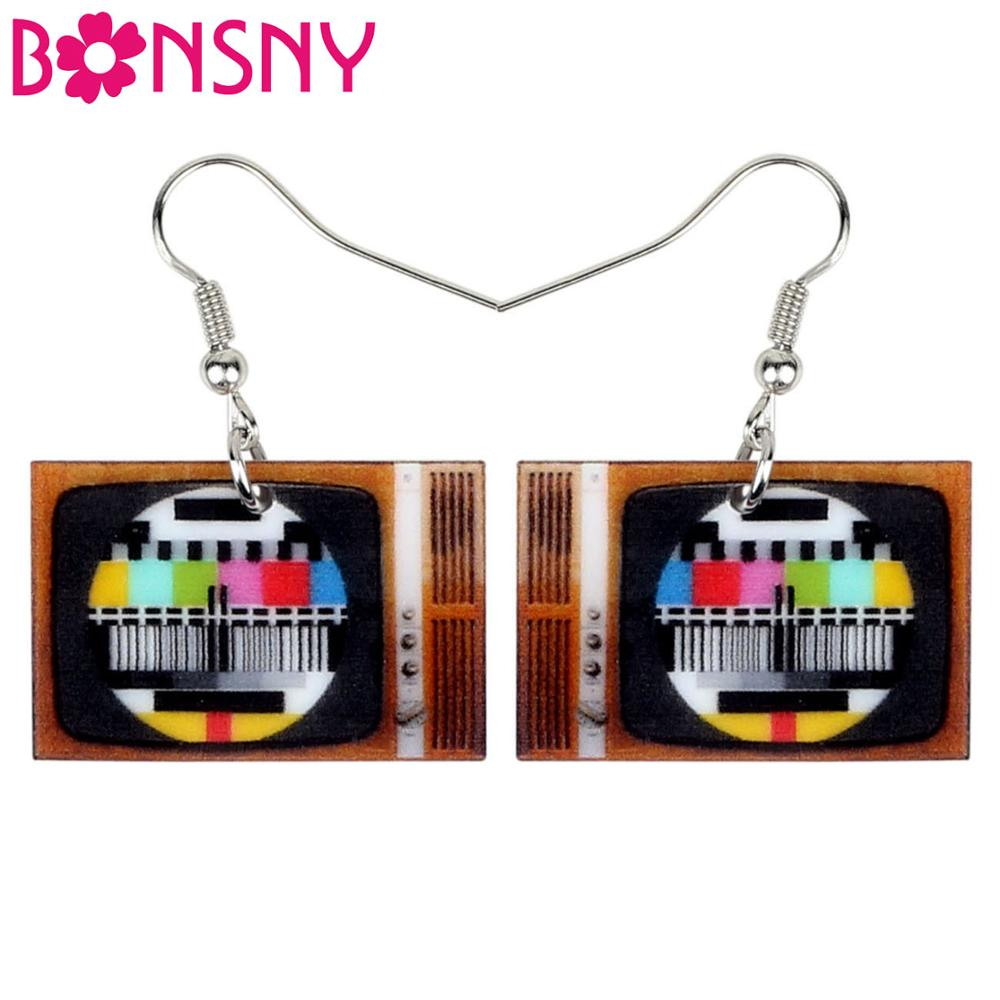 Bonsny Acrylic Vintage Television Earrings Drop Dangle Classical Fashion Jewelry For Women Girls Teens Gift Charms Accessories