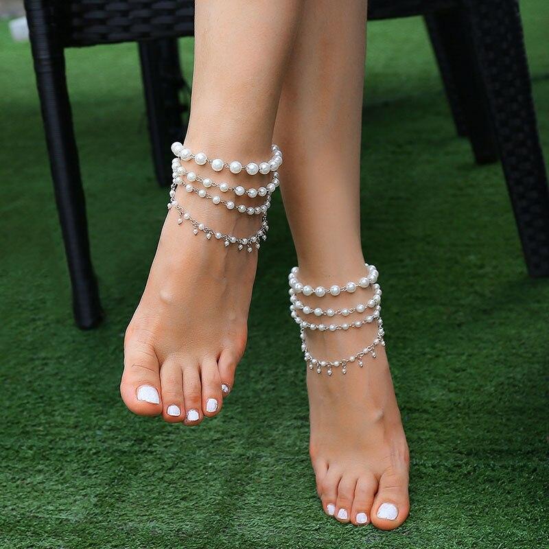 Playa Tobillera Boda Pulsera Tobillera De Mujer Descalzo Blanco Marfil Perlas Fashion Jewelry Anklets