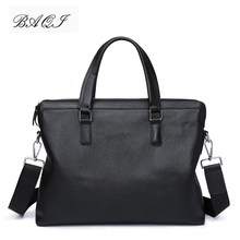 BAQI Brand Men Briefcase Bag Genuine Cow Leather Men HandBags 2019 Fashion Computer Business Bag Men Shoulder bags Messenger Bag цены