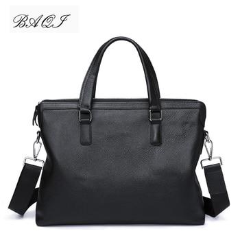 BAQI Brand Men Briefcase Bag Genuine Cow Leather HandBags 2019 Fashion Computer Business Shoulder bags Messenger
