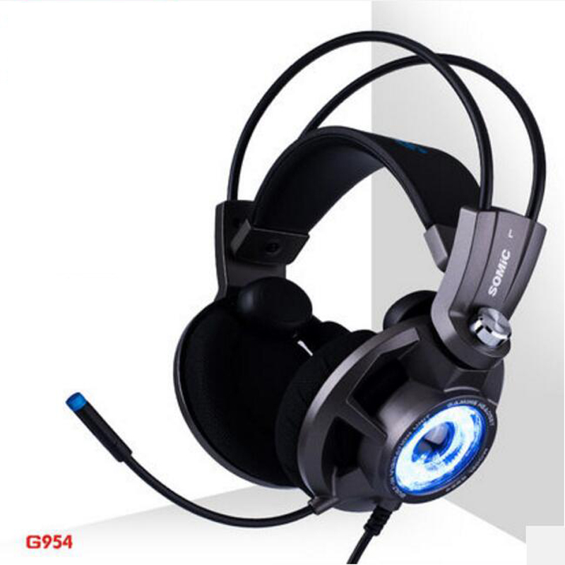 Somic G954 USB 7.1 Desktop E-sports Gaming Headset Headphones with Microphone Noise Cancelling Stereo LED Light for PC PS4 somic g936 usb wired gaming headphone 7 1virtual with microphone headsets for pc for ps4 enc noise cancelling multimode switch