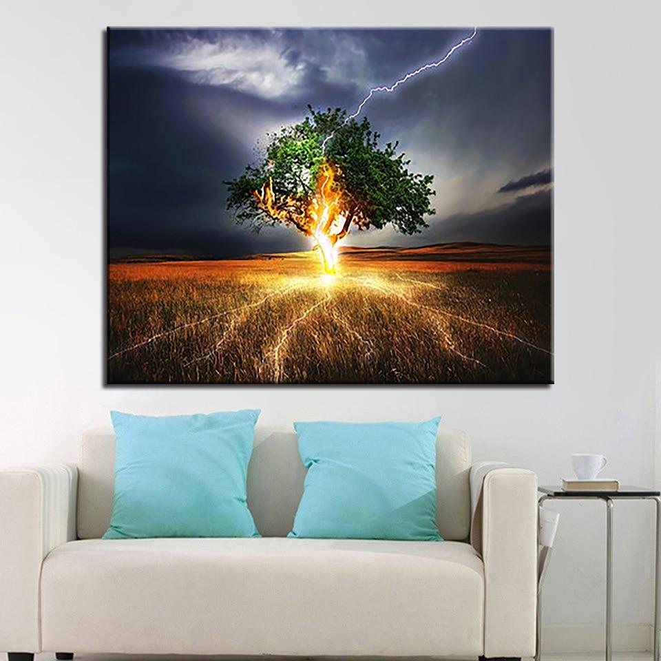 DIY Mewarnai Minyak Lukisan Dengan Angka Menggambar Pohon
