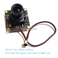 EFFIO E 1/3 Sony CCD 700TVL Camera Chipset Module with Microphone and 3.6mm HD Lens