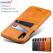 Leasdia For iPhone X Case Luxury Leather Card Slots Holder Slim Phone Wallet Cover For iPhone X 6 6s 7 7s 8 8 Plus Back Cover newest luxury brand spain full grain leather case for iphone 6 7 phone back cover with card slots custom name