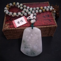 Free Class A National Certificate Natural Burmese Jade Carved Fish Flying Dragon Pendant Tricolor Jade Bead Necklace