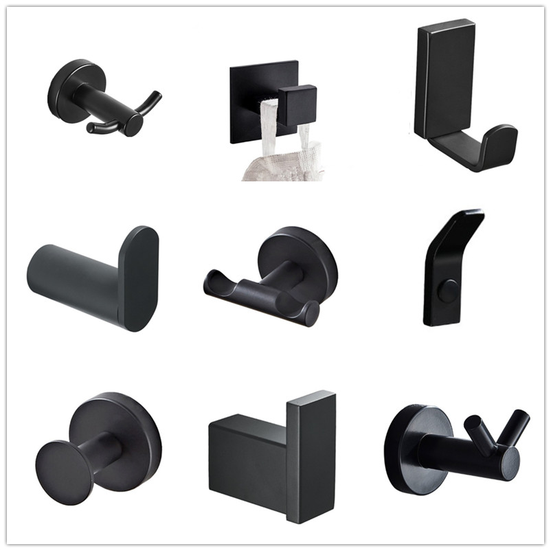 SUS 304 Stainless Steel Black Robe Hooks Wall Hook Clothes Hanger Towel Hooks Coat Door Hooks  Bathroom Accessories