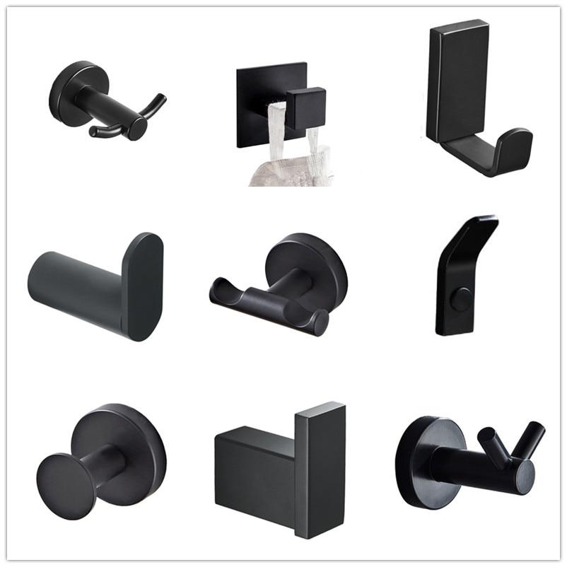 SUS 304 Stainless Steel Black Robe Hooks Wall Hook Clothes Hanger Towel Hooks Coat Door Hooks  Bathroom Accessories