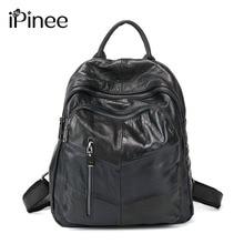 Ipinee Высокое качество Натуральная кожа женские рюкзаки дорожные сумки женские черные dailypack школы Дамы Опрятный Девушка Рюкзак