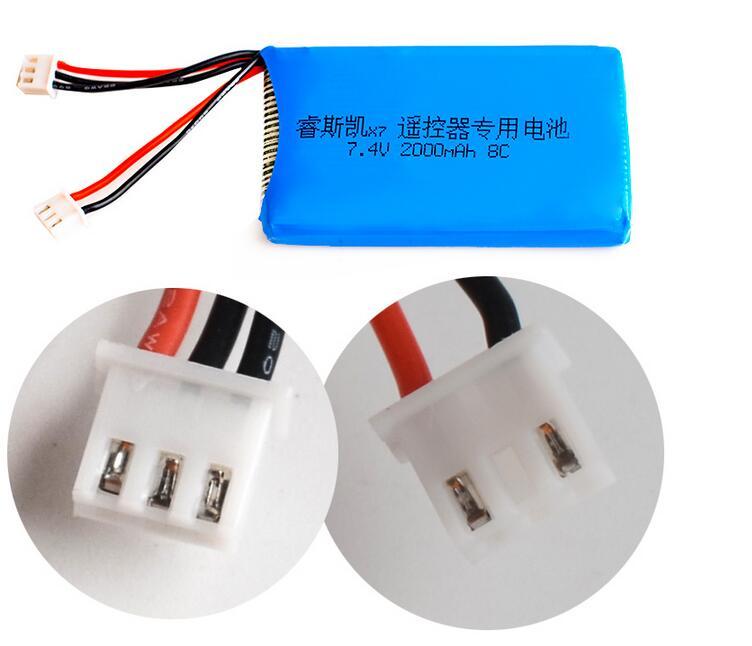 7 4V 2S 2000mAh 8C Lipo Battery Compatible for Frsky ACCST Taranis Q X7  Transmitter