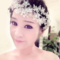 New 2014 Handmade White Pearl Dull Polish Flowers Bridal Hair Jewelry Wedding Headwear Accessories