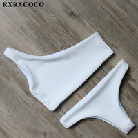 RXRXCOCO Solid Bikinis 2017 Brazillian Swimsuit Women White Bikini Set Sexy One Shoulder Swimwear Female Thong