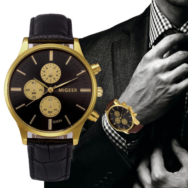 Migeer Luxury Men Design Dress Watches Leather Band Analog Alloy